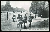 view [Miscellaneous Sites in France, Series 1]: horseback riding along L'Avenue du Bois de Boulogne (later Avenue Foch) in Paris. digital asset: [Miscellaneous Sites in France, Series 1] [lantern slide]: horseback riding along L'Avenue du Bois de Boulogne (later Avenue Foch) in Paris.