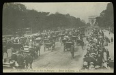 view [Miscellaneous Sites in France, Series 1]: a parade of horse-drawn carriages heading towards the Arch of Triumph with onlookers on both sides of L'Avenue du Bois Boulogne (later Avenue Foch) in Paris. digital asset: [Miscellaneous Sites in France, Series 1] [lantern slide]: a parade of horse-drawn carriages heading towards the Arch of Triumph with onlookers on both sides of L'Avenue du Bois Boulogne (later Avenue Foch) in Paris.