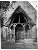 view [Miscellaneous Sites in Lisieux, Normandy, and Vicinity]: porch of the church in La Houblonnière, Normandy. digital asset: [Miscellaneous Sites in Lisieux, Normandy, and Vicinity] [glass negative]: porch of the church in La Houblonnière, Normandy.