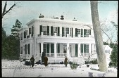 view [Highgate]: snow-covered yard and box-lined walkway in front of white house; with four people. digital asset: [Highgate]: snow-covered yard and box-lined walkway in front of white house; with four people.: [between 1914 and 1949?]