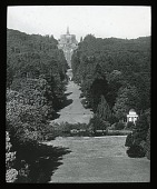 view Bergpark Wilhelmshöhe: looking toward the Hercules monument and cascades. digital asset: Bergpark Wilhelmshöhe: looking toward the Hercules monument and cascades.: [between 1914 and 1949]