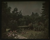 view [Unidentified Garden in Unidentified Location]: view of sunken garden with flower beds and hedges. digital asset: [Unidentified Garden in Unidentified Location] [lantern slide]: view of sunken garden with flower beds and hedges.