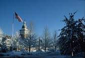 view [The Greensward of Market Square]: northeastern view in winter, showing the flagpole, gas lights, maples, and tower with a cupola and weather vane. digital asset: [The Greensward of Market Square]: northeastern view in winter, showing the flagpole, gas lights, maples, and tower with a cupola and weather vane.: 2006 Jan.