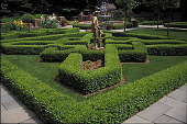 view [Iveagh House]: facing northeast, view of knot garden, fountain, and perennial gardens. digital asset: [Iveagh House]: facing northeast, view of knot garden, fountain, and perennial gardens.: 2002 Jun.