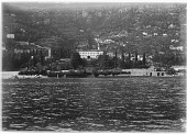 view [Miscellaneous Sites in the Italian Lakes]: the western shore of Lake Como in the comune of Moltrasio, with the Villa Passalacqua and tower of the San Martino church in the center and the tower of the Church of S. Agata on the left. digital asset: [Miscellaneous Sites in the Italian Lakes] [glass negative]: the western shore of Lake Como in the comune of Moltrasio, with the Villa Passalacqua and tower of the San Martino church in the center [...].