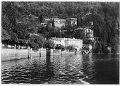 view [Miscellaneous Sites in the Italian Lakes]: villas in the town of Torno, along Lake Como. digital asset: [Miscellaneous Sites in the Italian Lakes] [glass negative]: villas in the town of Torno, along Lake Como.