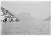 view [Miscellaneous Sites in the Italian Lakes]: Lake Lugano looking north, with the village of Albogasio on the left. digital asset: [Miscellaneous Sites in the Italian Lakes] [glass negative]: Lake Lugano looking north, with the village of Albogasio on the left.
