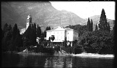 view [Miscellaneous Sites in the Italian Lakes]: looking from Lake Como to Tremezzo, with the Church of St. Lorenzo on the left. digital asset: [Miscellaneous Sites in the Italian Lakes] [negative]: looking from Lake Como to Tremezzo, with the Church of St. Lorenzo on the left.