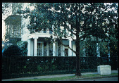 view [Strachan Garden]: side view of entrance from First Street with Jefferson Davis memorial plinth. digital asset: [Strachan Garden]: side view of entrance from First Street with Jefferson Davis memorial plinth. : 1987 October 1