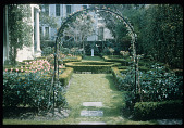 view [Strachan Garden]: arches in the formal rose gardens leading to a sundial. digital asset: [Strachan Garden]: arches in the formal rose gardens leading to a sundial.: 1982 March 1