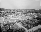 view MA016134 -- [The Chimneys]: view of garden with circular path before they were ponds. digital asset: [The Chimneys] [glass negative]: view of garden with circular path before they were ponds.