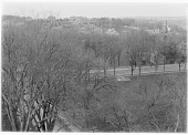 view [Miscellaneous Sites in Lexington, Massachusetts]: view of Lexington Common, probably shot from the steeple of the First Parish Church, with Bedford Street in the foreground and Harrington Road (formerly Elm Street) in the lower left. digital asset: [Miscellaneous Sites in Lexington, Massachusetts] [glass negative]: view of Lexington Common, probably shot from the steeple of the First Parish Church, with Bedford Street in the foreground and [...]