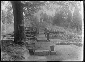 view [Unidentified Garden in Massachusetts, No. 1]: stone lantern. digital asset: [Unidentified Garden in Massachusetts, No. 1]: stone lantern.: [between 1920 and 1939]