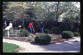 view [Rotch-Jones-Duff House and Garden Museum]: the boxwood perennial garden and some of its gardeners. digital asset: [Rotch-Jones-Duff House and Garden Museum]: the boxwood perennial garden and some of its gardeners.: 1998 May.