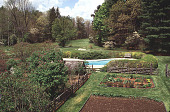 view [Perkins Garden]: the vegetable garden in back of the house, with the swimming pool beyond. digital asset: [Perkins Garden]: the vegetable garden in back of the house, with the swimming pool beyond.: 1995 May.