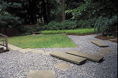 view [A Contemplative Garden]: stepping stones leading to tea house. digital asset: [A Contemplative Garden]: stepping stones leading to tea house.: 2002 Jun.
