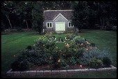 view [Armknecht Garden]: A raised bed for roses and a parterre garden are aligned with the shed. digital asset: [Armknecht Garden]: A raised bed for roses and a parterre garden are aligned with the shed.: 2009 Sep.