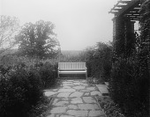 view [Edgewood (MD)]: bench and garden lighting, with an end of the pergola on the far right. digital asset: [Edgewood (MD)] [glass negative]: bench and garden lighting, with an end of the pergola on the far right.