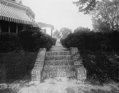 view [Marengo]: brick stairs leading up from the garden, with the house on the left. digital asset: [Marengo] [glass negative]: brick stairs leading up from the garden, with the house on the left.