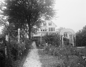 view [Marengo]: looking toward the house from the rose garden. digital asset: [Marengo] [glass negative]: looking toward the house from the rose garden.