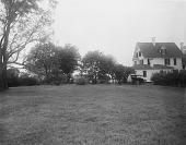 view [Marengo]: grassy area and rear of house, before landscaping. digital asset: [Marengo] [glass negative]: grassy area and rear of house, before landscaping.