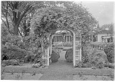 view [Marengo]:  looking from the rose garden to the house, showing the circular birdbath, and the pergola on the right. digital asset: [Marengo] [glass negative]: looking from the rose garden to the house, showing the circular birdbath, and the pergola on the right.