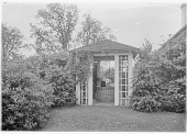 view [Marengo]: the well house and surrounding shrubs. digital asset: [Marengo] [glass negative]: the well house and surrounding shrubs.