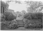 view [Marengo]: brick stairs leading up to the garden, with the house on the left and the pergola in the background. digital asset: [Marengo] [glass negative]: brick stairs leading up to the garden, with the house on the left and the pergola in the background.