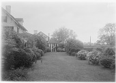 view [Marengo]: looking along the grass path from the garden to the well house, with the house on the left. digital asset: [Marengo] [glass negative]: looking along the grass path from the garden to the well house, with the house on the left.