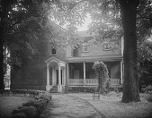 view [Ogle Hall]: side of house and driveway facing College Avenue. digital asset: [Ogle Hall] [glass negative]: side of house and driveway facing College Avenue.