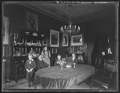 view [Tanglewood]: Oscar Liebig, Dr. Gustav Adolph Liebig, Mrs. Sarah Elizabeth Liebig, Walter E. Liebig, and Clarence M. Liebig in the dining room at Tanglewood. digital asset: [Tanglewood] [glass negative]: Oscar Liebig, Dr. Gustav Adolph Liebig, Mrs. Sarah Elizabeth Liebig, Walter E. Liebig, and Clarence M. Liebig in the dining room at Tanglewood.