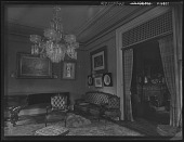 view [Tanglewood]: parlor with chandelier. digital asset: [Tanglewood] [glass negative]: parlor with chandelier.