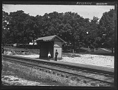 view [Catonsville Short Line]: two people at the Paradise Station. digital asset: [Catonsville Short Line] [glass negative]: two people at the Paradise Station.