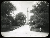 view [Washington Monument (Baltimore, Maryland)]: the Washington Monument in Baltimore, Maryland, with the statue of Severn Teackle Wallis in the middle distance. digital asset: [Washington Monument (Baltimore, Maryland)] [lantern slide]: the Washington Monument in Baltimore, Maryland, with the statue of Severn Teackle Wallis in the middle distance.