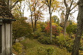 view [Clare and Van Stewart Garden]: The sunroom lawn and flagstone walkway in autumn. digital asset: [Clare and Van Stewart Garden]: The sunroom lawn and flagstone walkway in autumn. : 2017 November 3
