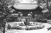 view [Middlegate Japanese Gardens]: Fountain, Sunken garden and guest house in background. digital asset: [Middlegate Japanese Gardens]: Fountain, Sunken garden and guest house in background.: 1962.