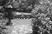 view [Middlegate Japanese Gardens]: View towards the garden from second (St. Louis) street entrance. digital asset: [Middlegate Japanese Gardens]: View towards the garden from second (St. Louis) street entrance.: 1962.