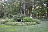 view [Gregg Garden]: the shade garden with a statue of Pan features white and blue flowers. digital asset: [Gregg Garden]: the shade garden with a statue of Pan features white and blue flowers.: 2016 Aug.