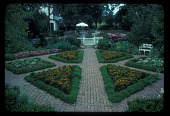 view [Straus Garden]: formal garden, looking toward house and patio. digital asset: [Straus Garden]: formal garden, looking toward house and patio.: 1978 Jul.