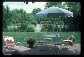 view [Straus Garden]: patio, looking toward formal garden and showing surrounding border. digital asset: [Straus Garden]: patio, looking toward formal garden and showing surrounding border.: 1978 Jul.