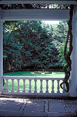 view [Villa Narcault]: stone terrace covered with wisteria-covered pergola opening to the sunken garden. digital asset: [Villa Narcault]: stone terrace covered with wisteria-covered pergola opening to the sunken garden.: 2001 May.