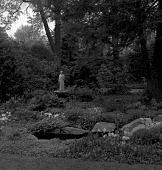 view [Height Garden]: pond in foreground; St. Francis statue in background. digital asset: [Height Garden] [safety film negative]: pond in foreground; St. Francis statue in background.
