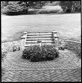 view [Keith Garden]: stairs leading to lawn from patio. digital asset: [Keith Garden] [contact print and safety film negative]: stairs leading to lawn from patio.