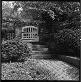 view [Keith Garden]: wooden gate, brick walkway and stairs, and flanking boxwood. digital asset: [Keith Garden] [contact print and safety film negative]: wooden gate, brick walkway and stairs, and flanking boxwood.