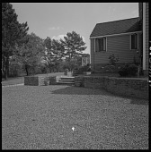 view [Koven Garden]: end of driveway and stairs to main entrance of house. digital asset: [Koven Garden] [photographic print and safety film negative]: end of driveway and stairs to main entrance of house.