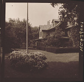 view [Unidentified Garden in New Jersey, No. 2]: view of house and flower bed at base of flagpole. digital asset: [Unidentified Garden in New Jersey, No. 2] [photonegative]: view of house and flower bed at base of flagpole.