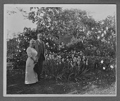 view [Willowmere]: Rear Admiral Aaron Ward and his wife, Annie Cairns Willis Ward, in their garden. digital asset: [Willowmere] [photonegative]: Rear Admiral Aaron Ward and his wife, Annie Cairns Willis Ward, in their garden.