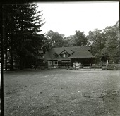 view [Haggerty Garden]: garage and stable from horse pasture. digital asset: [Haggerty Garden] [photographic print]: garage and stable from horse pasture.