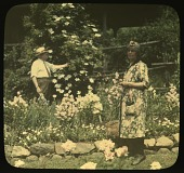 view [Seven Oaks]: Arthur Woodward Fox and Ada Augusta Treadwell Fox in the garden. digital asset: [Seven Oaks] [slide]: Arthur Woodward Fox and Ada Augusta Treadwell Fox in the garden.