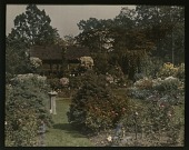view [Seven Oaks]: garden view with sundial and summer house. digital asset: [Seven Oaks] [slide]: garden view with sundial and summer house.
